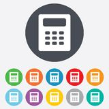 Calculator sign icon. Bookkeeping symbol. Round colourful 11 buttons Stock Photo