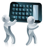 Calculator silver people Royalty Free Stock Photos
