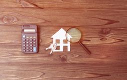 Calculator, sleutels, huis, Stock Foto