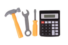 Calculator with a small tool kit Stock Photo