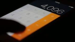 Calculator smartphone. Close-up stock footage