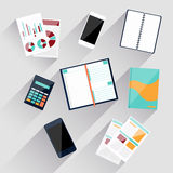Calculator, smartphone, stationery and documents Royalty Free Stock Photos