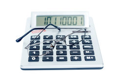 The calculator and spectacles Stock Image