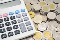 Calculator on stack of coins Stock Image