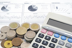 Calculator and stack of coins Royalty Free Stock Photo
