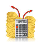 Calculator and a stack of gold coins Royalty Free Stock Images