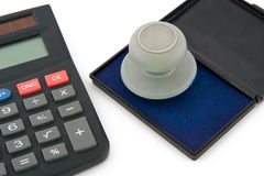 Calculator and Stamp Royalty Free Stock Photo