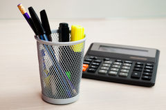 Calculator and stationery Stock Photos