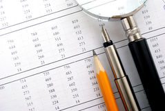 Calculator and stationery items Stock Images
