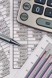 Calculator and statistk Stock Image