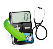 Calculator with a Stethoscope Royalty Free Stock Images