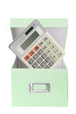 Calculator in Storage Box Stock Photography
