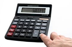 Calculator Success. Calculator with Success word on display Royalty Free Stock Photos