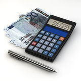 Calculator success. 3d rendering of a pen and calculator  with success text on euro banknote Stock Photography