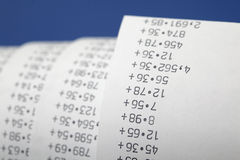 Calculator tape Stock Photography