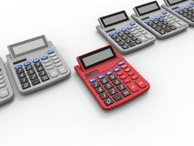 Calculator target in row concept Stock Image