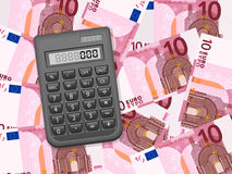 Calculator on ten euro background Royalty Free Stock Photo