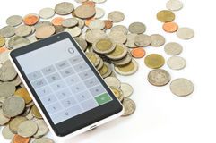 Calculator and Thailand coin Stock Photos