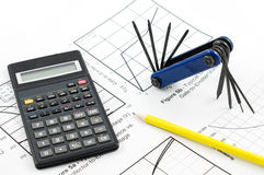 Calculator and tool Stock Photos