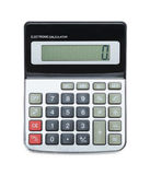 Calculator On Top View. Top View Of Grey Calculator Isolated on White Background Royalty Free Stock Image