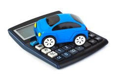 Calculator and toy car stock images