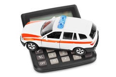 Calculator and toy police car Stock Photography