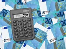 Calculator on twenty euro background Stock Photography