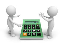Calculator. Two 3d man discussing, a calculator being between them Royalty Free Stock Photos