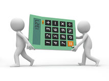 Calculator. Two 3d men carrying a big calculator Stock Images