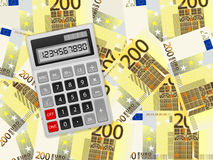 Calculator on two hundred euro background. Calculator on a two hundred euros background stock illustration