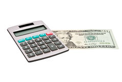 Calculator on US dollars Stock Image
