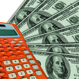 Calculator and USA dollars.Business collage. Business collage (Calculator and some USA dollars).Illustration Stock Image