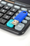 Calculator and USB disk Royalty Free Stock Photography
