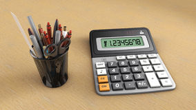 Calculator and useful. Isolated calculator and useful office Royalty Free Stock Photo