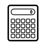 Calculator vector icon. Black and white counting illustration. Outline linear icon. Royalty Free Stock Photos