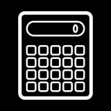 Calculator vector icon. Black and white counting illustration. Outline linear icon. Royalty Free Stock Image