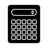 Calculator vector icon. Black and white counting illustration. Solid linear icon. Royalty Free Stock Photo