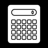 Calculator vector icon. Black and white counting illustration. Solid linear icon. Eps 10 Stock Images