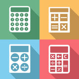 Calculator vector icons set with long shadow. Calculator icons set with long shadow effect. Button and mathematics, electronic digit, finance and numeral Royalty Free Stock Image