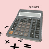 Calculator vector line art. Calculator vector line art , retro cartoon style vector illustration Royalty Free Stock Photos