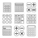 Calculator vector linear or outline icons set. Button mathematics, electronic sign, illustration display Stock Image