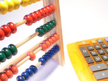 Calculator versus sliding rule Stock Photos