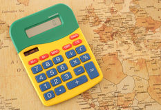 Calculator with vintage looking map of Europe Stock Photography