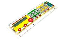 Calculator voor schoolkinderen In de vorm van een lijn met het beeld van een paravoz Royalty-vrije Stock Foto