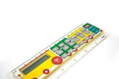 Calculator voor schoolkinderen In de vorm van een lijn met het beeld van een paravoz Stock Foto's