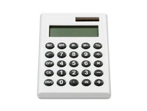 Calculator. White hand pocket solar calculator Royalty Free Stock Images