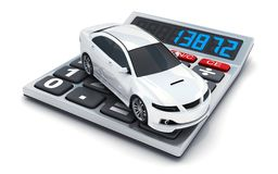 Calculator and white small car on white background Stock Photography