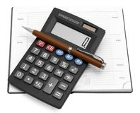 Calculator With A Pen In A Notebook Royalty Free Stock Photo