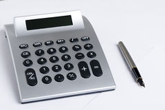 Calculator With Pen Stock Image