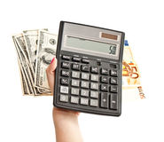 Calculator in woman's hands Royalty Free Stock Photo
